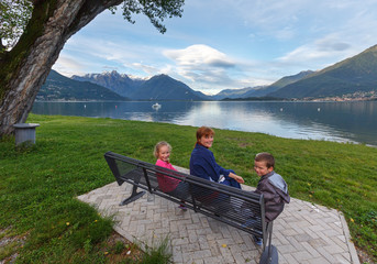 Summer Lake Como view (Italy) and family