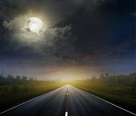 Poster Full moon Country road with a dark sky