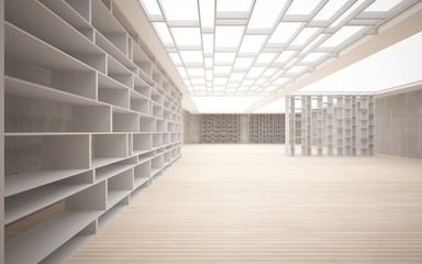 Abstract interior. Stylish white shelves against the concrete an