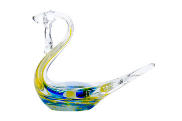 crystal swan on white background