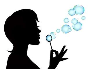 female silhouette and soap bubbles