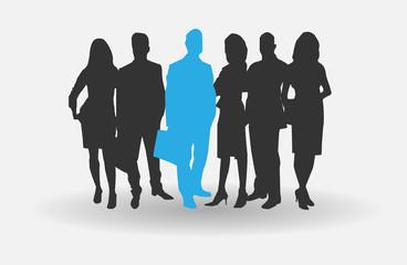 Obraz biznes people blue - fototapety do salonu