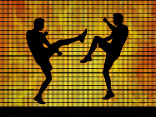 two man fighting on a fire background