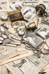 Antique french and german goods prepared for flea market