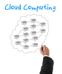 Businessman creating a cloud computing diagram concept