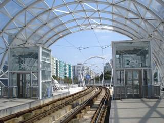 Tram rail descending from Basarab overpass in Bucharest