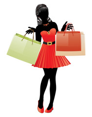 Shopping girl in red dress silhouette