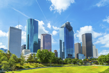 Autocollant pour porte Texas Skyline of Houston, Texas