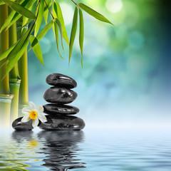 Kamienie i bambus na wodzie z narcyzem kwitną