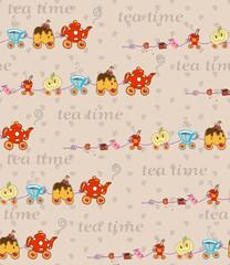 Tea Time Vector Seamless Pattern