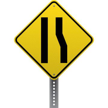 Lane ends sign