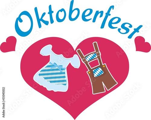 """""""Oktoberfest - Logo mit Dirndl, Lederhose und Herz ..."""