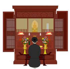 仏壇に焼香