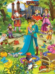 Spoed Foto op Canvas Ridders The fairy tales mush up - castles knights fairies
