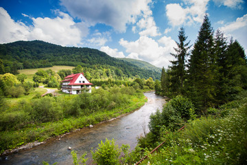 Rural view with river in Bieszczady mountains, Poland