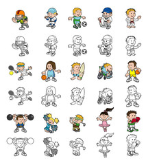 Cartoon people playing sports