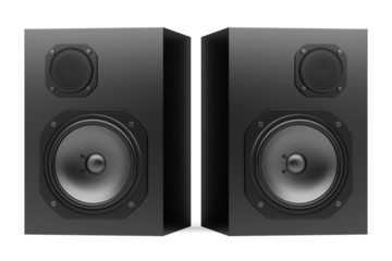 two black audio speakers isolated on white background