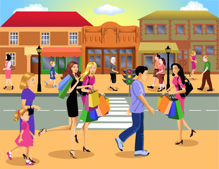 people going shopping downtown