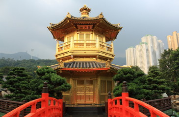 Arch Bridge and Pavilion in Nan Lian Garden, Hong Kong.