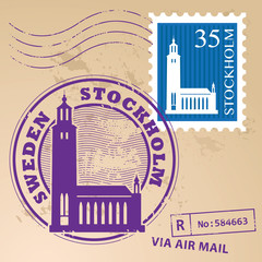 Stamp set with words Stockholm, Sweden inside, vector