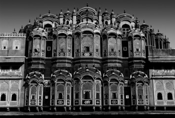 Wall Mural - Hawa Mahal's balcony, black and white