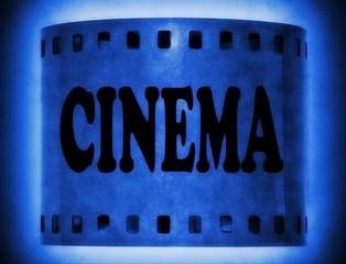 cinema word on blue film strip background