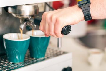 Coffeeshop - barista presents coffee
