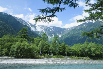 梓川と穂高山脈(上高地)