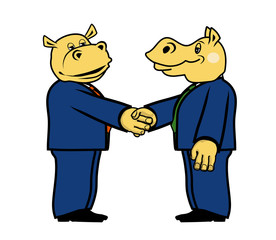 two hippo in suits 3