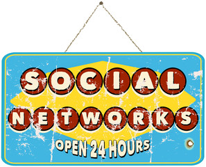 social networks, vintage sign