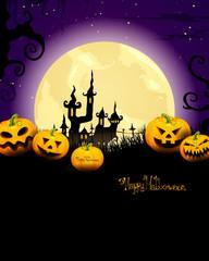 Vector Halloween Background with Pumpkins