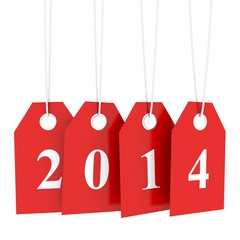 Happy new year 2014, hanging red labels