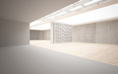 Abstract interior. Stylish white shelves against the concrete a