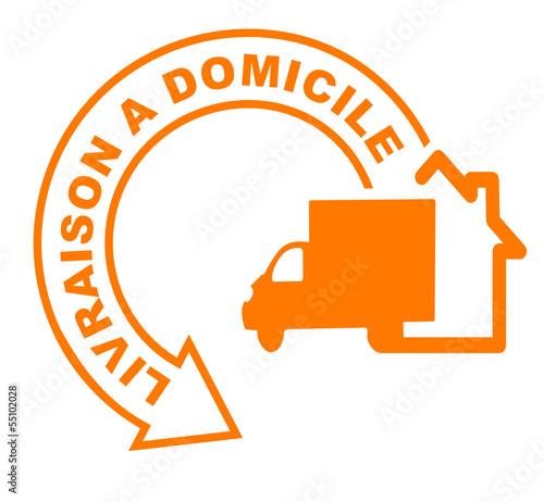 livraison domicile fl che orange fichier vectoriel libre de droits sur la banque d 39 images. Black Bedroom Furniture Sets. Home Design Ideas