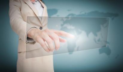 Businesswoman touching blank panel interface