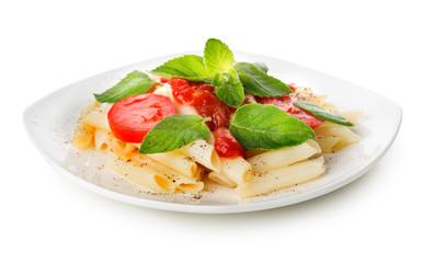 Pasta with ketchup and greens
