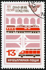stamp shows freight transportations by train and car