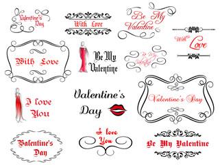 Set of love and Valentine's calligraphic headlines