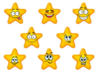 Yellow stars with happy emotions