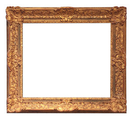 old golden frame with empty grunge canvas
