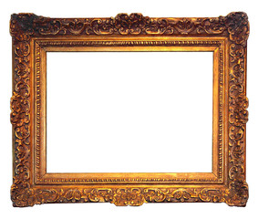 old golden frame with empty grunge canvas 2