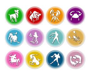Colorful zodiac icons