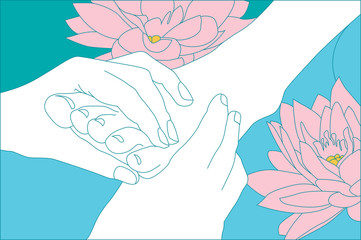 lotus flower in the caring hands of a beautician