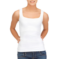 woman in blank white tank top