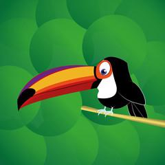 Vector Cartoon Cute Funny Toucan Bird On Branch