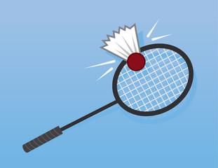Badminton Racket hitting shuttlecock