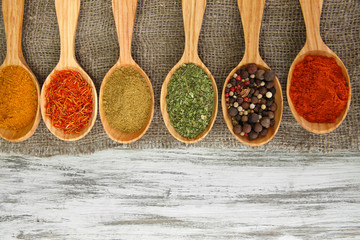 Foto auf Leinwand Gewürze 2 Assortment of spices in wooden spoons on wooden background