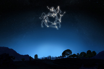 Zodiac Sign Sagittarius with a star and symbol outline
