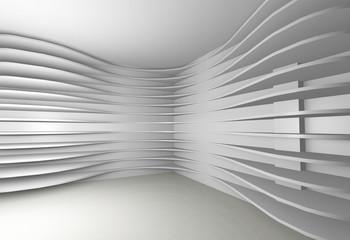 Conceptual interior with white shelfs