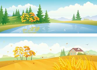 Autumn landscape banners